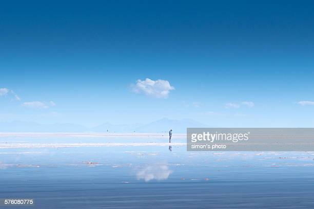 Man on salt flat