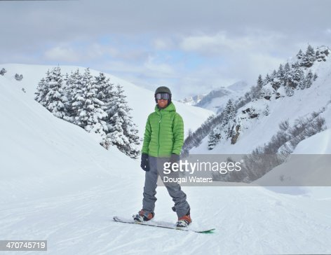 Man on snowboard in The Alps.