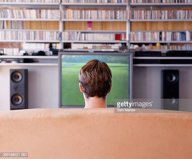 Man on sofa, watching television, rear view