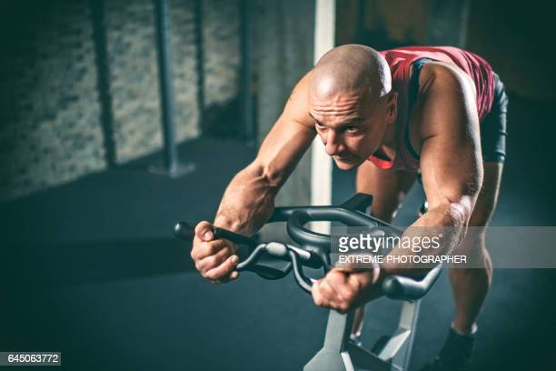 Man on stationary bicycle