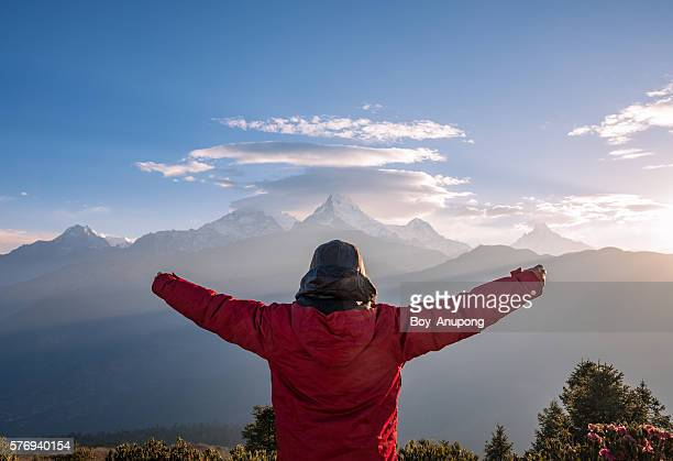 A man on the top of Poon Hill for watch the sunrise (3210m)