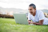 Man online outdoors