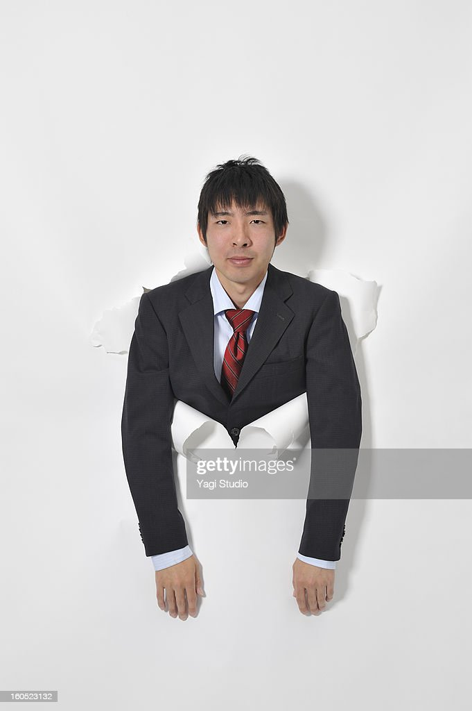 Man out of the hole : Stock Photo