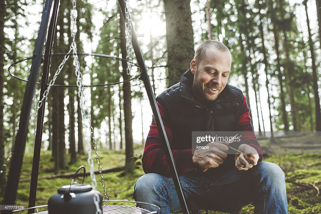 Man outdoors in the woods