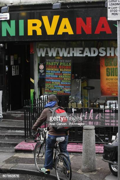 A man outside the Nirvana Head Shop in Dublin as owners of controversial shops were warned tonight the lucrative trade in oncelegal highs was over...
