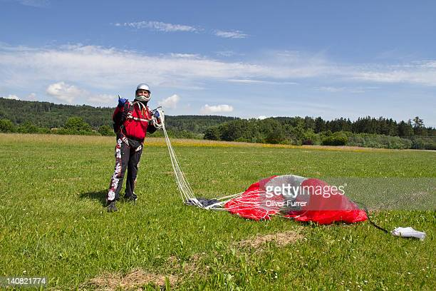 Man over fifty is happy after a safe landing.