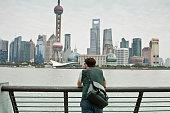 Man overlooking city skyline