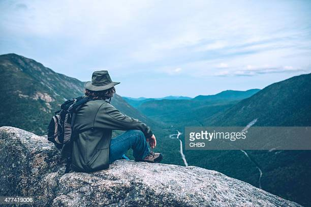 Man overlooking Crawford Notch in New Hampshire