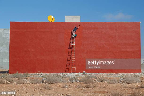 Man painting large red wall