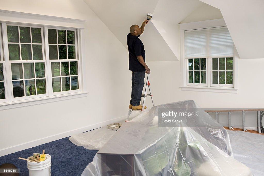 Man painting, renovating house