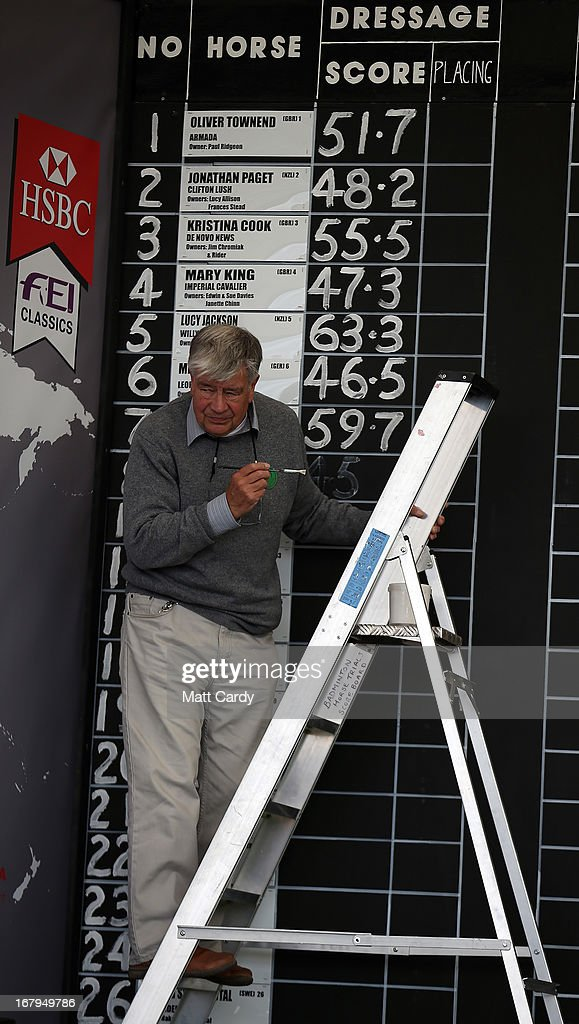A man paints the results of the dressage on a black board at the Badminton Horse Trials on the first full day of the Mitsubishi sponsored event on May 3, 2013 in Badminton, Gloucestershire. The event - which runs until Monday and is held on the Duke of Beaufort's estate, is now in its 22nd year but was cancelled last year due to flooding. It is widely seen by many as one of the highlights in the equestrian eventing calendar.