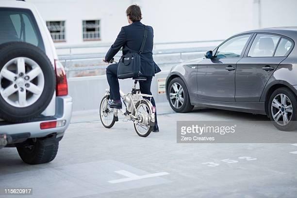 Man parking his bicycle