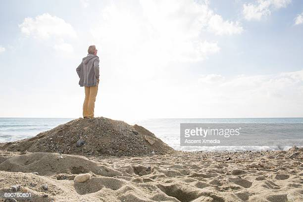 Man pauses on beach mound, looks out to sea