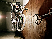 Man performing jump on BMX bicycle