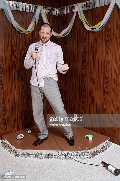 Man performing karaoke