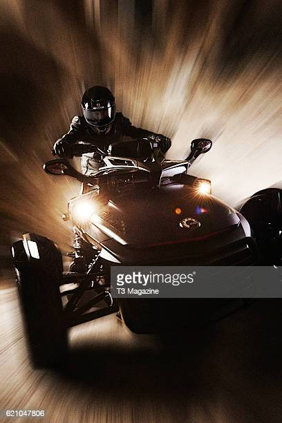 A man photographed riding a CanAm Spyder F3T Limited Special Series 3wheel motorcycle taken on April 14 2016