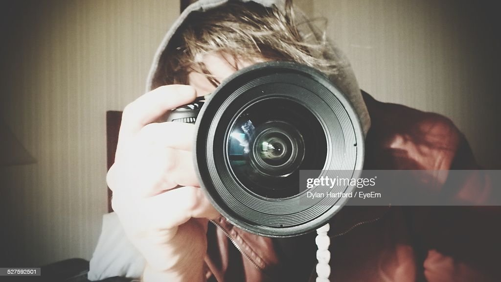 Man Photographing With Slr Camera : Stock Photo