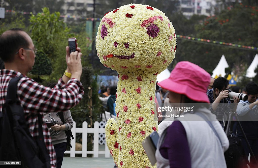 Man photographs snake made of flowers at the 2013 Hong Kong Flower Show at Victoria Park on March 15, 2013 in Hong Kong, Hong Kong. The 2013 Hong Kong Flower Show opened today and will continue until March 24, 2013.