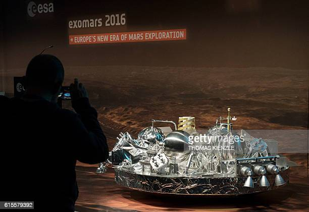 3 of the landing unit Schiaparelli of the EuropeanRussian ExoMars 2016 mission at the European Space Agency space operation center in Darmstadt...