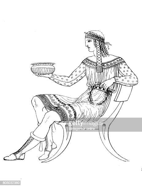 Man phrygian costume colorful dress nach einem Vasengemaelde History of fashion costume story