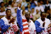 SCOTTIE PIPPEN AND CLIDE DREXLER ACKNOWLEDGE THE CROWD AFTER RECEIVING THEIR GOLD MEDALAS MEMBERS OF THE DREAM TEAM DURING THE 1992 BARCELONA...