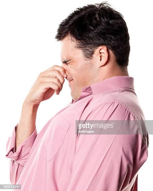 Man Pinching Nose, Side View