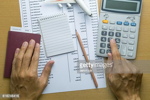 Man planning monthly budget, Finance about Travel concept : Foto de stock