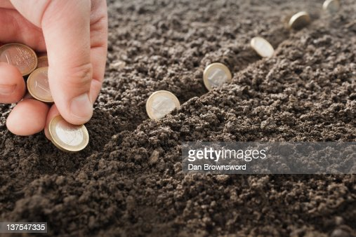 Man planting Euro coins in soil : Foto stock