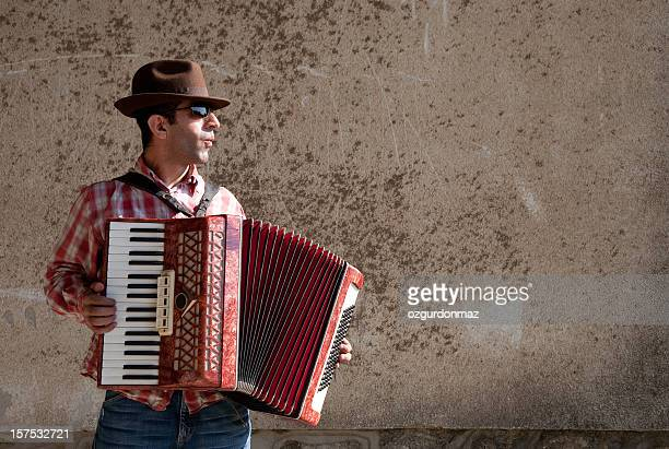 Man playing accordion