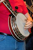Man playing banjo with a band.  Other musicians are close.  This is a 5 string banjo made for picking.