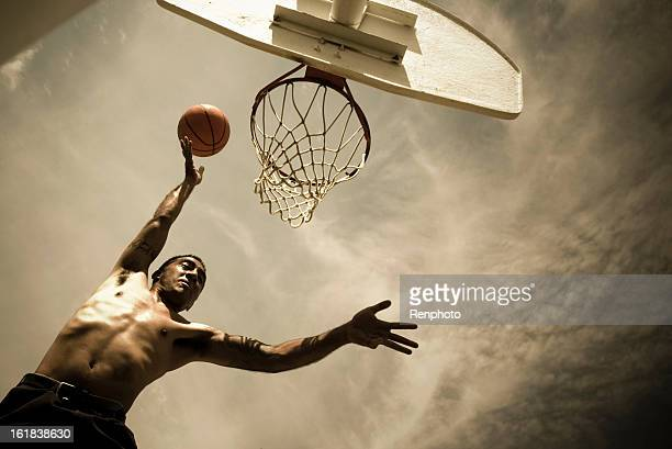 Man Playing Basketball: Going For Slam Dunk