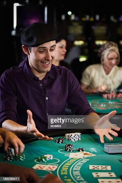 Man Playing Blackjack In a Casino