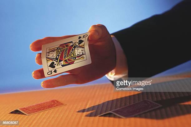 Man playing card trick