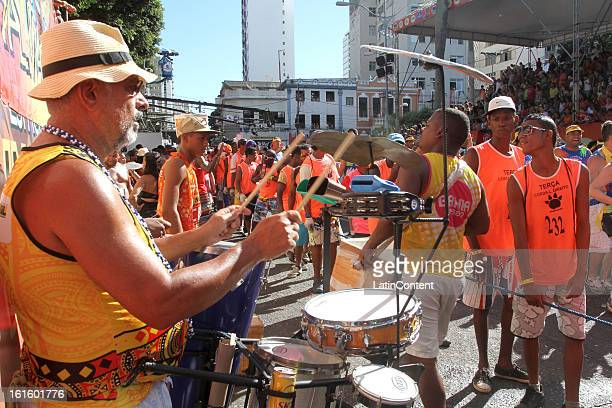 A man playing drums during the Parade Block at Circuit Campo Grande in Carnival on February 12 2013 in Salvador Brazil