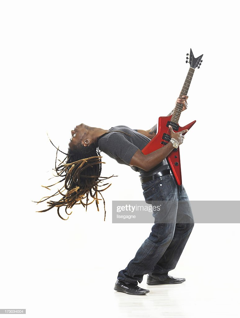 Man playing electric guitar : Stock Photo