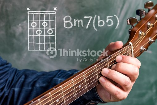 Man Playing Guitar Chords Displayed On A Blackboard Chord B Minor 7 ...
