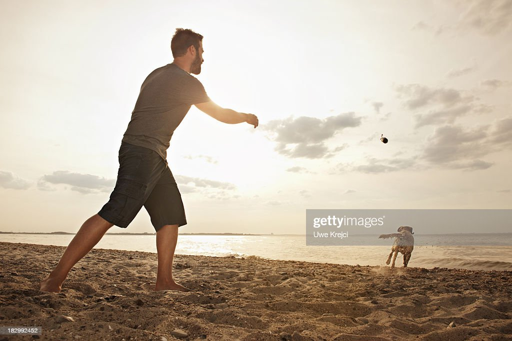 Man playing on beach with dog