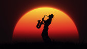 Man playing on saxophone against the background of sunset. This is a 3d render illustration