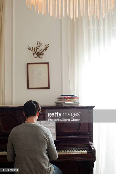 Man playing piano, rear view