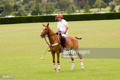Man playing polo : Foto de stock