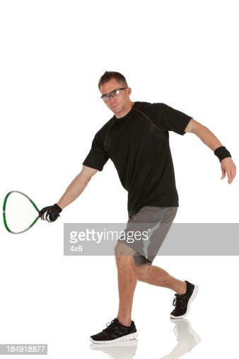 Man playing racquetball