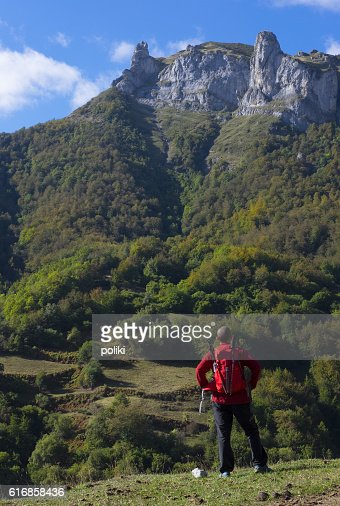Man playing sport in the Picos de Europa National Park : Stock Photo