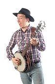 Portrait of a cheerful man with a banjo