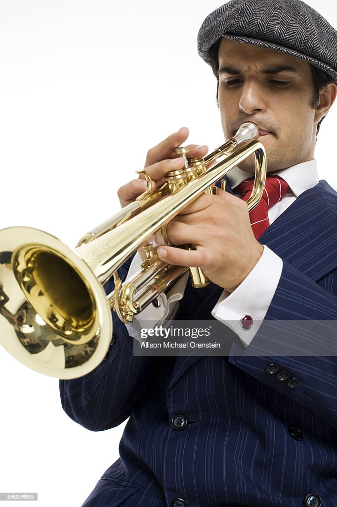 man playing the trumpet : Stock Photo