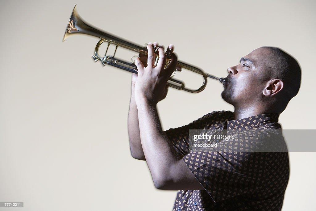 Man Playing Trumpet : Stock Photo