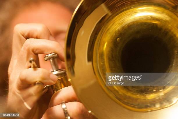 Man playing valve trombone