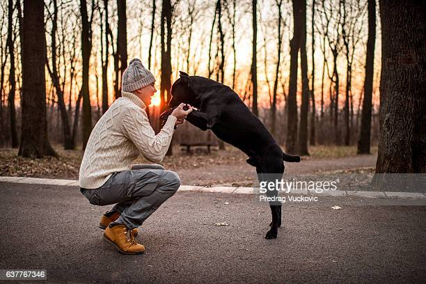 Man playing with Cane Corso
