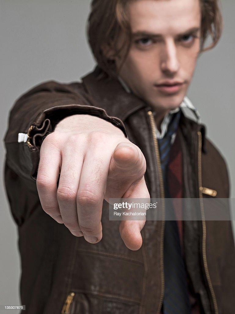 Man pointing at camera : Stock Photo