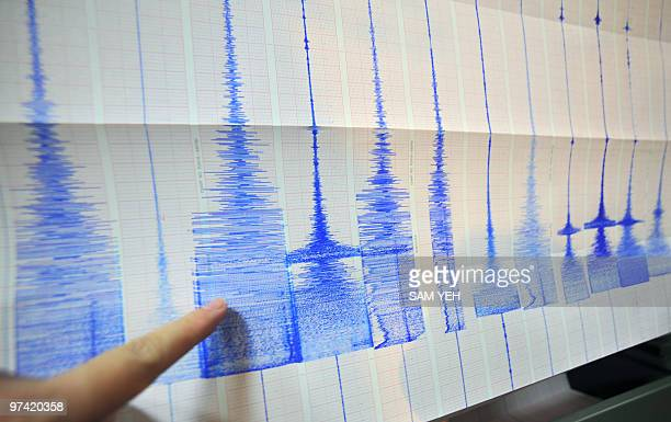 A man points at a seismic chart at the Central Weather Bureau in Taipei on March 4 2010 after a 64 magnitude rocked southern Taiwan near the island's...