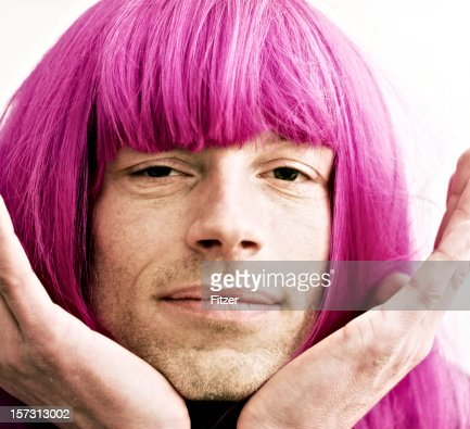 man portrait with pink wig, soft drag queen
